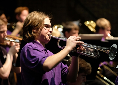 Student performs trumpet solo.