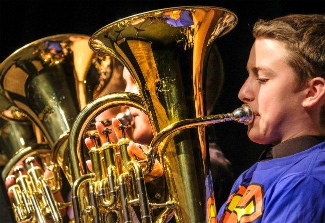 Boys play baritone horns