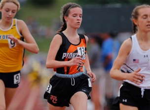 Fort Calhoun's Avery McKennan runs the 3,200-meter run at Omaha Burke Stadium