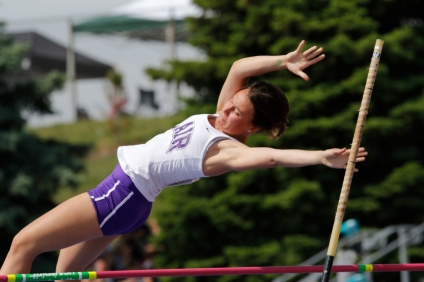 BlairÕs Grace Galbraith competes in the pole vault