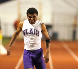 Blair's Adam Brehm finishes his 200-meter dash prelim at Omaha Burke Stadium