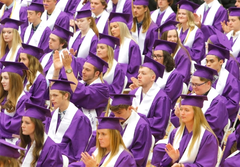 Seniors clap for School Board President Kari Loseke.