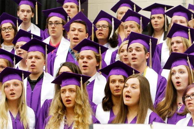 Senior Choir members perform together on last time.