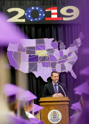 Superintendent of Schools Dr. Randall Gilson delivers his first Blair High School commencement address.
