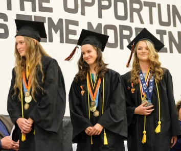 Valedictorians from left Zoe Fickbohm, Avery McKennan, and Taya Skelton.