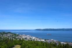 View of the mouth of the Columbia River from the Astoria column high above Astoria, OR.