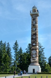 Astoria Column. The 125-foot-tall column overlooks the mouth of the Columbia River. The column was built in 1926. A 164 step interior spiral staircase ascends to an observation deck at the top.
