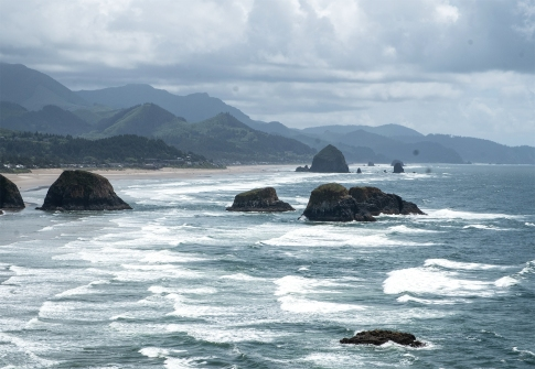 Waves roll in to Cannon Beach, OR.