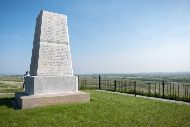 Monument listing names of soldiers, Indian scouts and civilians who died at the Battle of the Little Bighorn.