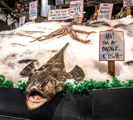 Monk Fish on ice at the Seattle Central Market.