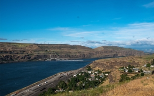 The Dalles is a French word used to describe the narrow rapids along the Columbia River. A series of locks and dams now make the river safe for navigation.