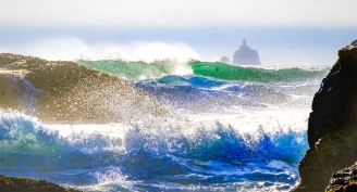 """The Tillamook Rock lighthouse gained the nickname """"Terrible Tillie"""" because of its exposure to fierce storm waves. The lighthouse was commissioned in 1881 and replaced by whistle buoy in 1957."""