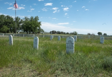 Restored grave markers in the Fort Buford cemetery include the cause of death as well as the date.