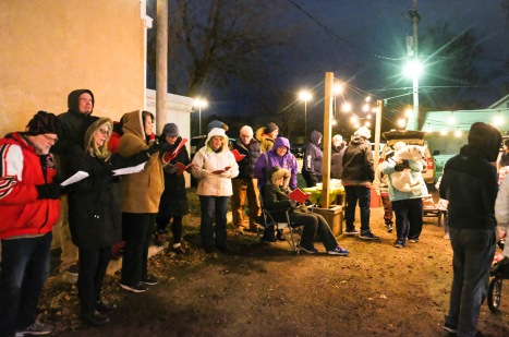Country Bible carolers ad friends sing carols
