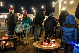 Country Bible Church offered warm fire and marshmallows to roast and make into s'mores.