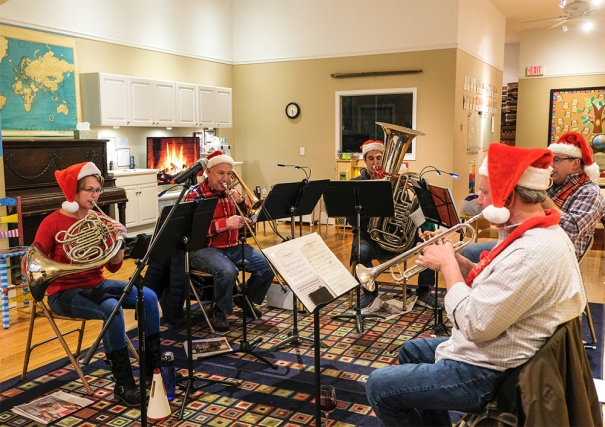 Downtown Brass plays seasonal music at the Washington Street Pre-School