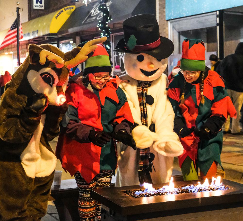 Reindeer Snowman elves in costume
