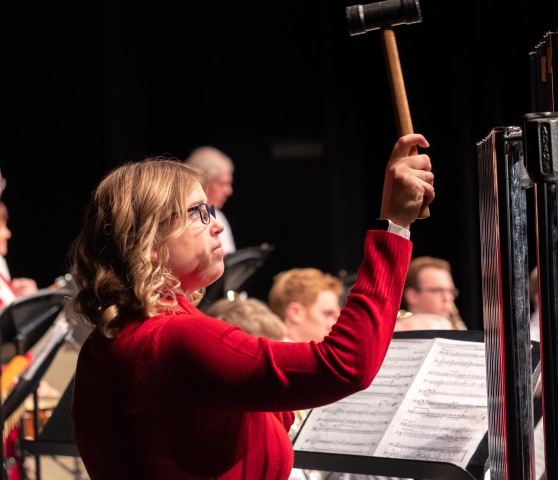 Alyssa Beasley performs with the Blair Area Community Band in the holiday concert in the Lela Neve Auditorium at Blair High School