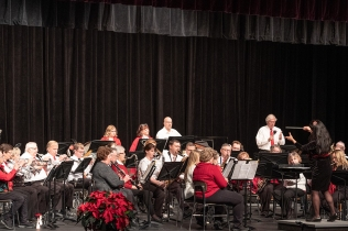 Blair Area Community Band in the holiday concert in the Lela Neve Auditorium at Blair High School