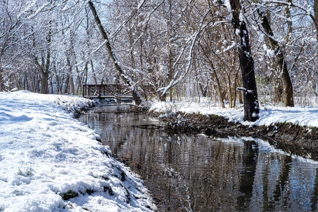 Footbridge crosses Cauble Creek along Lions Park Deerfield trail Friday morning.
