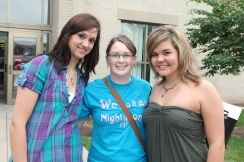 From left April Fitch, Jill Sieh, and Amberly Helsinga were roommates at Dana College.