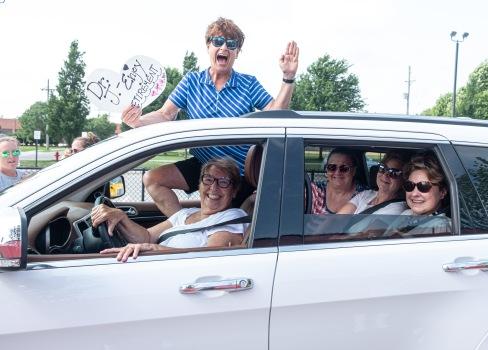 women in SUV