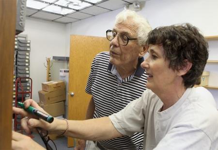 John W. Nielsen and daughter Jane Nielsen Wilson label document boxes.
