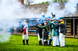 Rifle regiment conducts manual of arms drill on the parade ground at Fort Atkinson Living History Days.