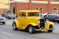 Carl Lorenzen cruised downtown Blair in a restored Chevy coupe Saturday.
