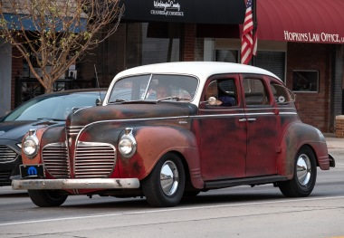 An old Mopar Plymouth tours downtown Blair during Cruise Night.